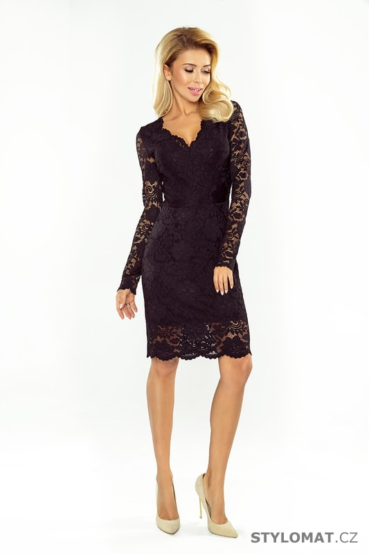 726d60cbc11 Krajkové šaty s dlouhými rukávy a výstřihem černé - Numoco - Krátké ...