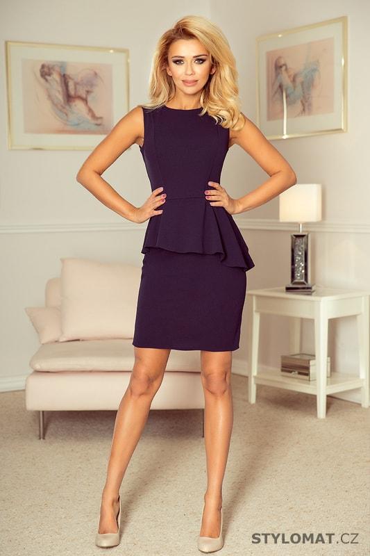 f0529848325 Asymetrické šaty s volánem tmavě modré - Numoco - Elegantní a business šaty