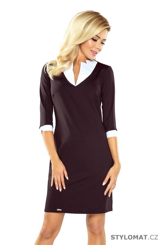 Dámské business šaty s límečkem černé - Numoco - Elegantní a business šaty 3fb9dcc621