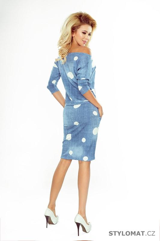 Sportovní šaty džínové s bílými puntíky - Numoco - Krátké letní šaty 91053550ff