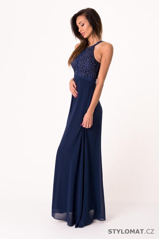 Tmavě modré večerní šaty se zdobeným vrškem - Eva Lola - Dlouhé ... c540922622