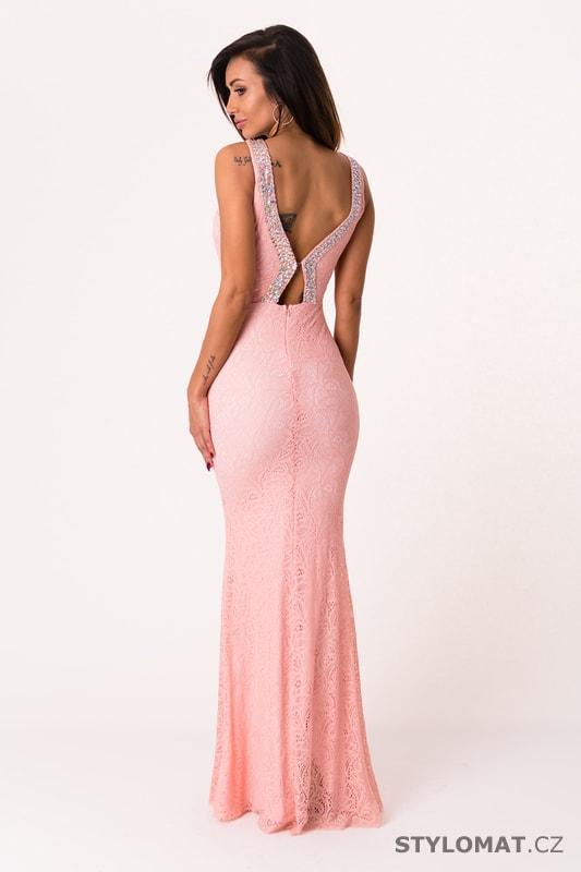 7e8f0f94135 Dlouhé večerní šaty se zdobením růžové - Soky Soka - Dlouhé ...