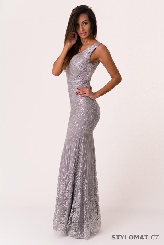 71c8229f2b5 Dlouhé večerní šaty s flitry stříbrné - Soky Soka - Dlouhé společenské šaty