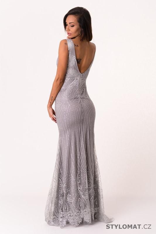 Dlouhé večerní šaty s flitry stříbrné - Soky Soka - Dlouhé ... eab0006c8c