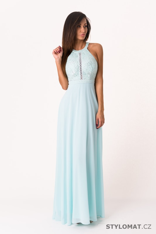 Světle modré večerní šaty se zdobeným vrškem - Eva Lola - Dlouhé  společenské šaty 7e86394c29