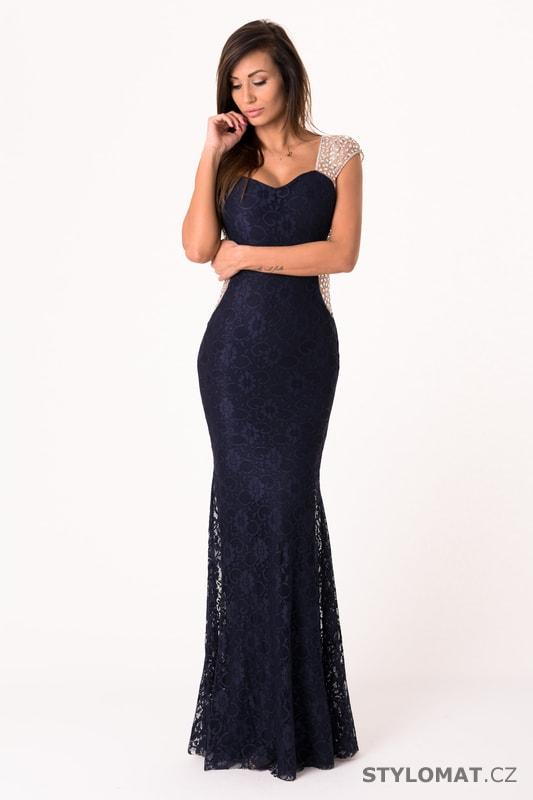 Dlouhé krajkové večerní šaty tmavě modré - Soky Soka - Dlouhé ... 385bf8f12c