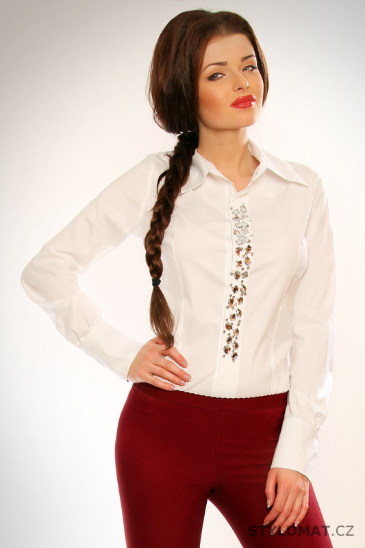 cd4390c7e00 Dámská bílá společenská košile s dlouhým rukávem - Blugio - Košile