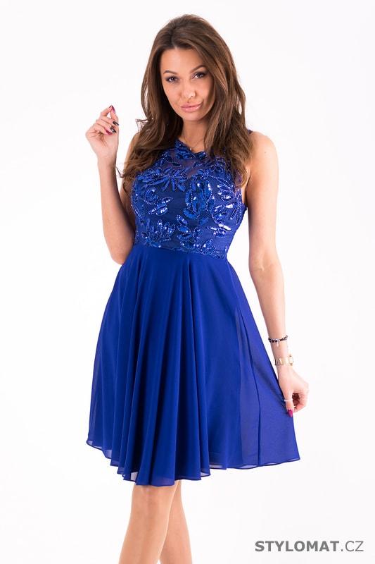 Modré plesové šaty se zdobeným vrškem - Eva Lola - Šaty do tanečních 6fbe9e278a