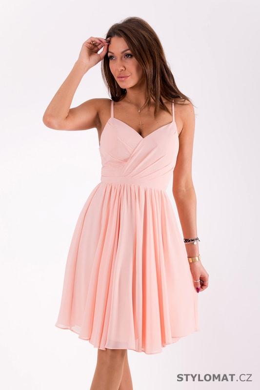 Elegantní šaty na ramínka světle růžové - Eva Lola - Šaty do tanečních 566590acaf