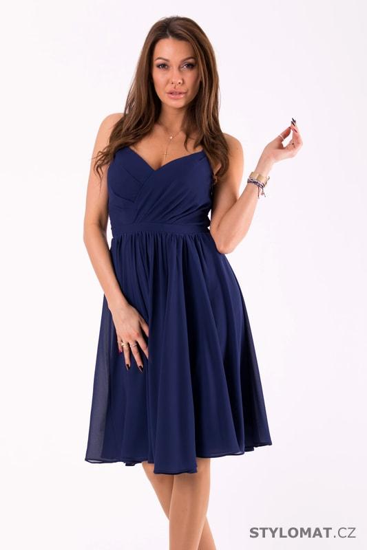 Elegantní šaty na ramínka tmavě modré - Eva Lola - Šaty do tanečních 79ca4d0f10