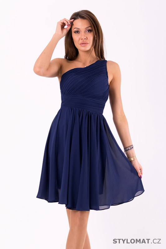 Krátké společenské šaty na jedno rameno tmavě modré - Eva Lola ... de876fe6a07