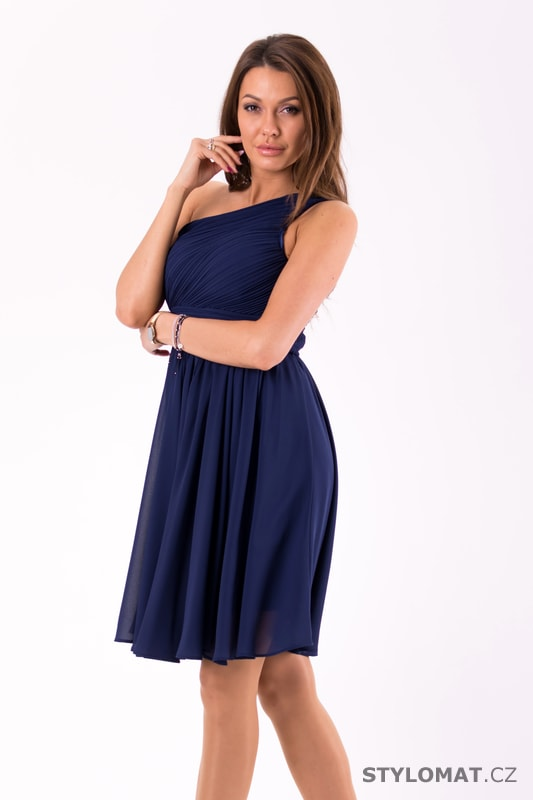 4d10a6091e2 Krátké společenské šaty na jedno rameno tmavě modré - Eva Lola ...