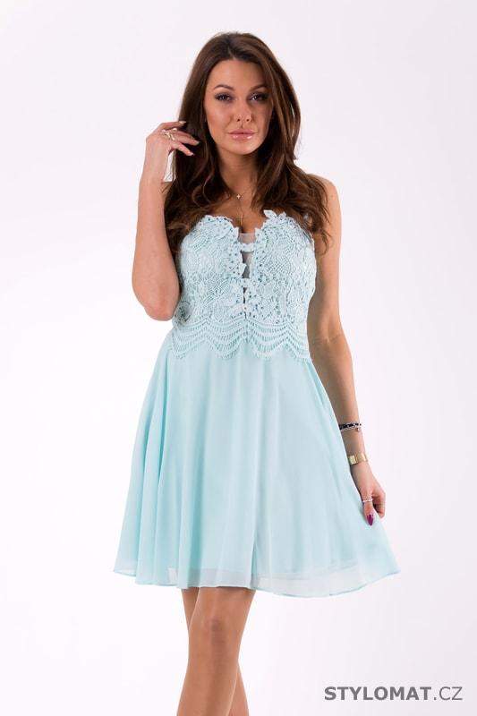 Šaty na ramínka s krajkou světle modré - Eva Lola - Šaty do tanečních bd17378ab0