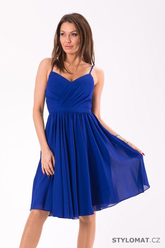 Elegantní šaty na ramínka modré - Eva Lola - Krátké společenské šaty be46481037