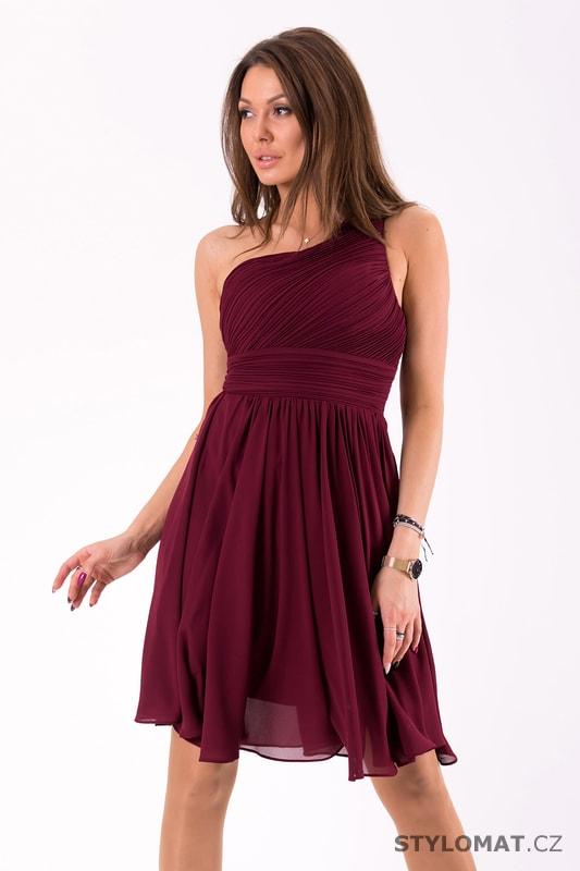 Krátké společenské šaty na jedno rameno vínové - Eva Lola - Krátké ... 8cd22d4bf12