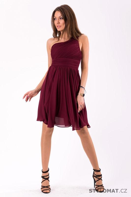 53d58aff5e3 Krátké společenské šaty na jedno rameno vínové. Zvětšit. - 4%. Previous   Next