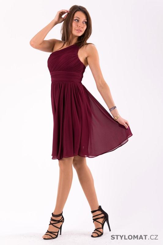Krátké společenské šaty na jedno rameno vínové - Eva Lola - Krátké ... d1a7d9207d