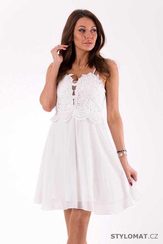 Šaty na ramínka s krajkou bílé - Eva Lola - Krátké společenské šaty cfb634ceb6