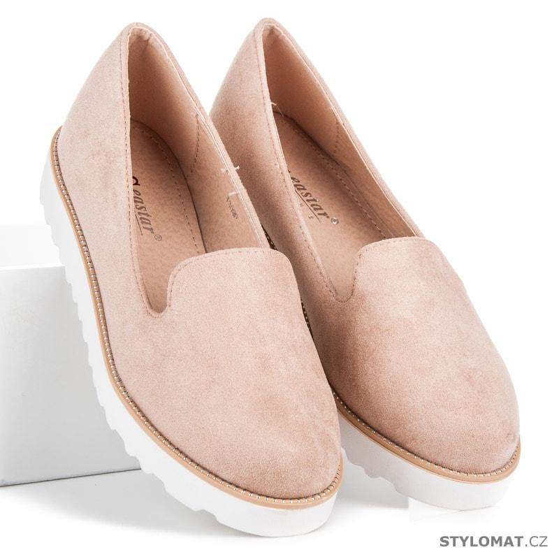 7610ce86144 Nazouvací obuv na platformě růžová - SEASTAR - Polobotky