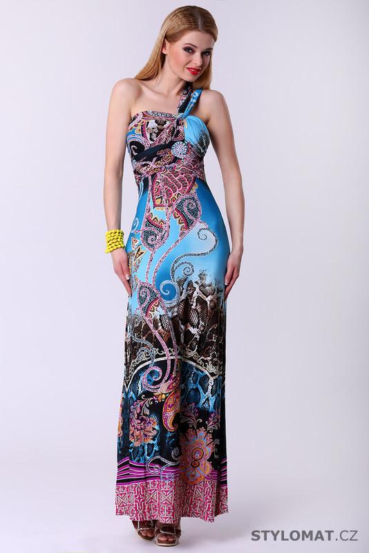 Dlouhé dámské šaty s etno vzorem - modré - F Girl - Krátké letní šaty b868476811e