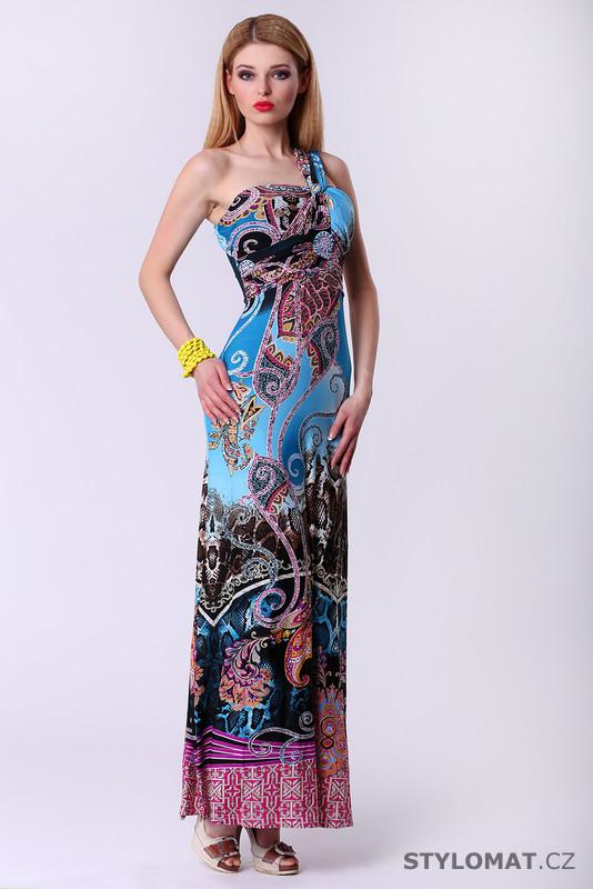 Dlouhé dámské šaty s etno vzorem - modré - F Girl - Krátké letní šaty a780fcde20