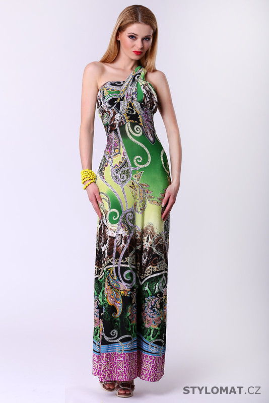 Dlouhé dámské šaty s etno vzorem - zelené - F Girl - Krátké letní šaty 89ec7a85e9