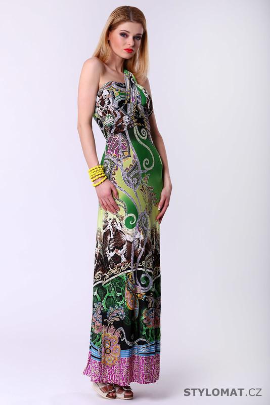 Dlouhé dámské šaty s etno vzorem - zelené - F Girl - Krátké letní šaty 0a583b4d3ea