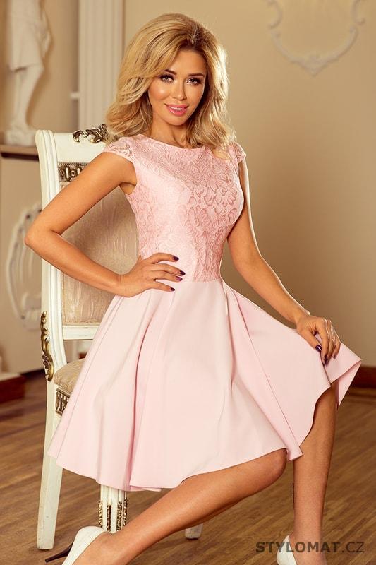 Šaty s krajkou světle růžové - Numoco - Krátké společenské šaty df2593259c