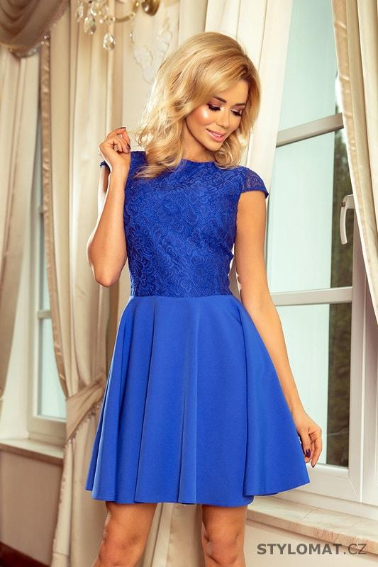 Krajkové šaty modré - Numoco - Krátké společenské šaty 00712fd157