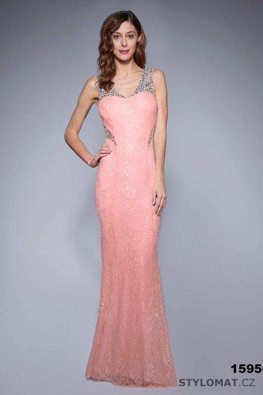 Jednoduché večerní šaty korálové - Soky Soka - Dlouhé společenské šaty 1c39c7e697a
