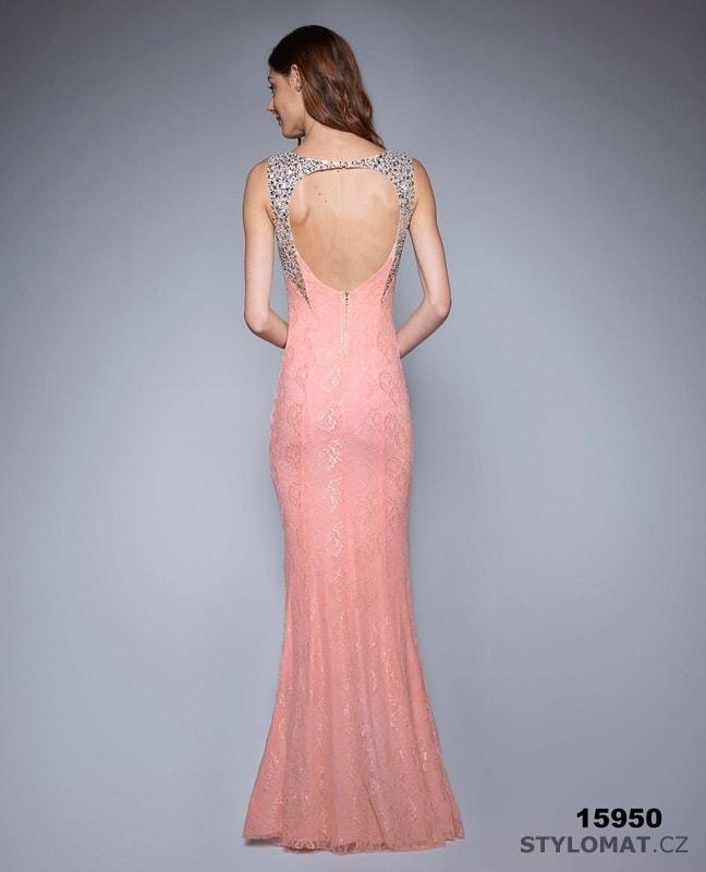 Jednoduché večerní šaty korálové - Soky Soka - Dlouhé společenské šaty c5d5ff13a2