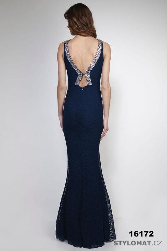 Jednoduché večerní šaty tmavě modré - Soky Soka - Dlouhé společenské ... 61b1c7ef41