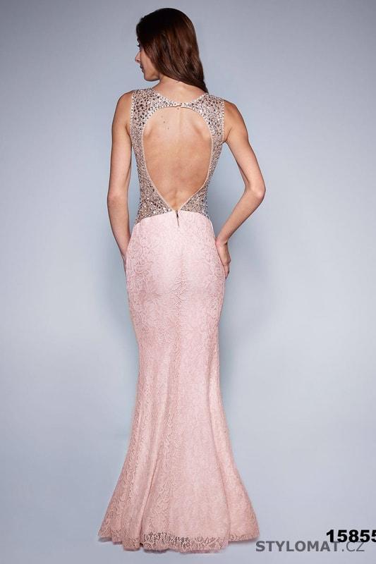 262840b8c68 Večerní šaty se zdobenými zády světle růžové - Soky Soka - Dlouhé ...