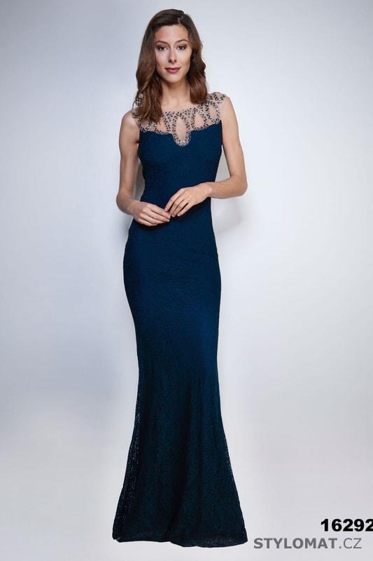 Večerní šaty s výstřihem na zádech modré - Soky Soka - Dlouhé ... e4be29370d7