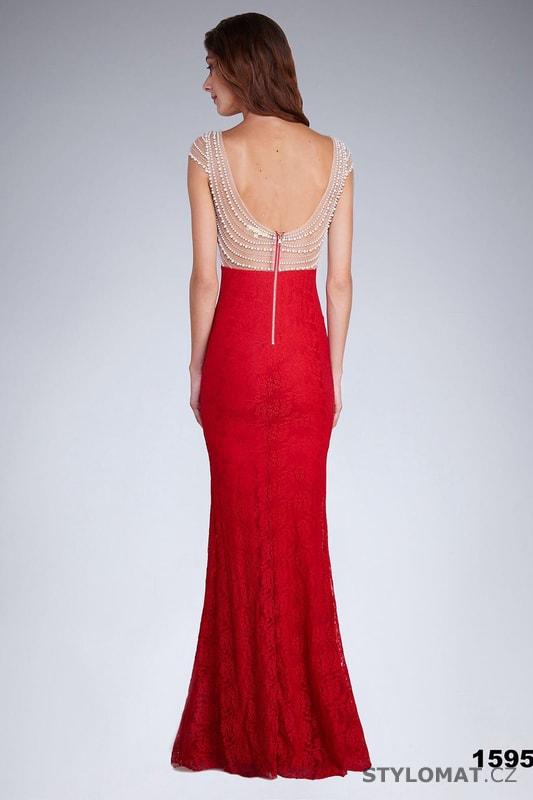 Večerní šaty s perlovou aplikací červené - Soky Soka - Dlouhé ... 2fb9963d56
