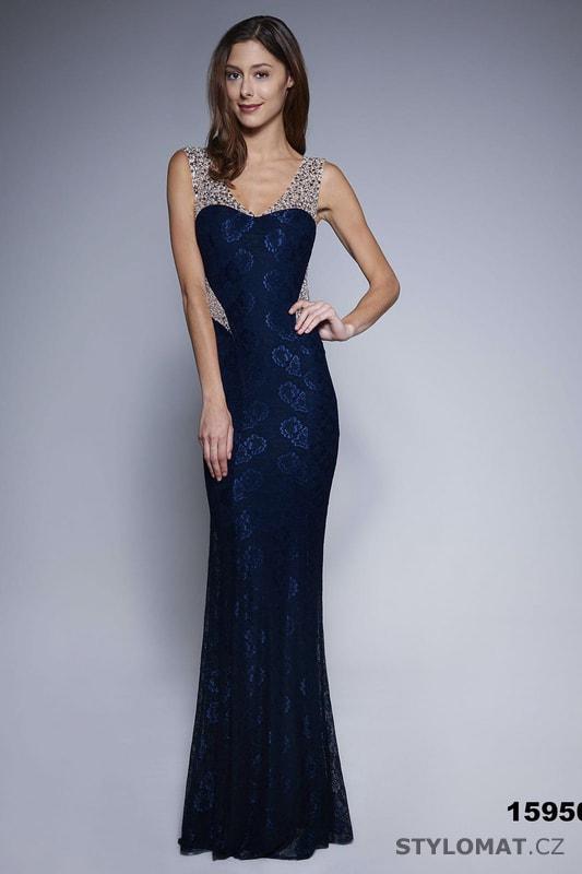 Jednoduché večerní šaty modré - Soky Soka - Dlouhé společenské šaty 5448984ade