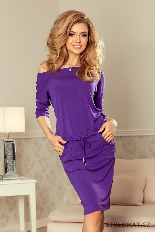 Sportovní šaty fialové - Numoco - Úpletové šaty de326e49997
