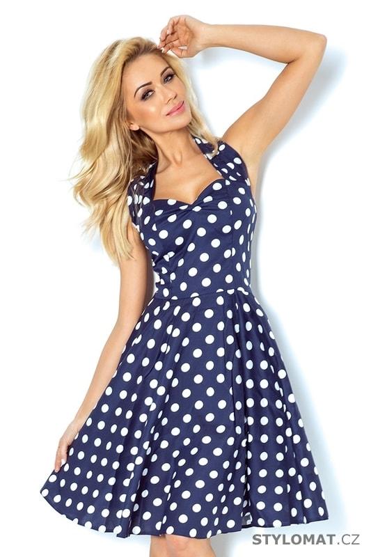 Rockabilly pin up šaty modré s bílými puntíky a knoflíky - Numoco - Šaty do  tanečních b67a046f91