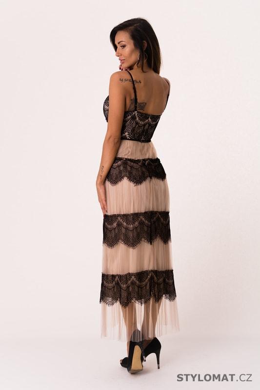 Krajkové šaty na ramínka béžové - Soky Soka - Dlouhé společenské šaty 6a878a6fa6