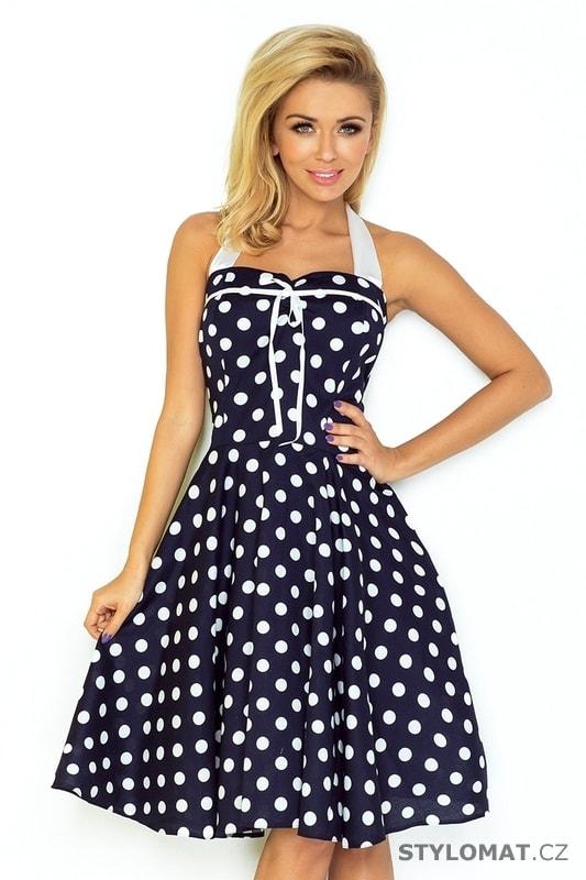 Rockabilly pin up šaty tmavě modré s bílými puntíky – bez korzetu - Numoco  - Krátké letní šaty 5b92cf4a40