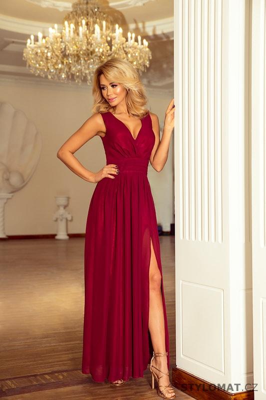 Maxi šifonové šaty s rozparkem vínové - Numoco - Dlouhé společenské šaty f554097e45