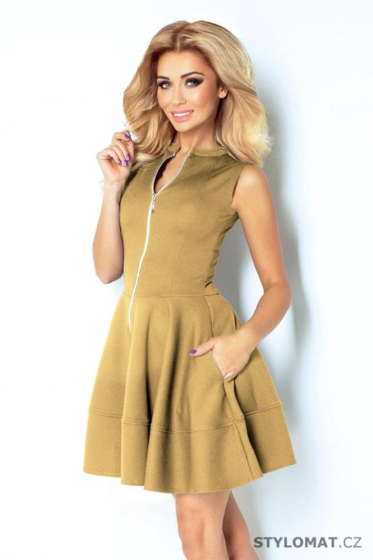94b8ad8964a Šaty se zipem vpředu a kapsami béžové - Numoco - Krátké letní šaty