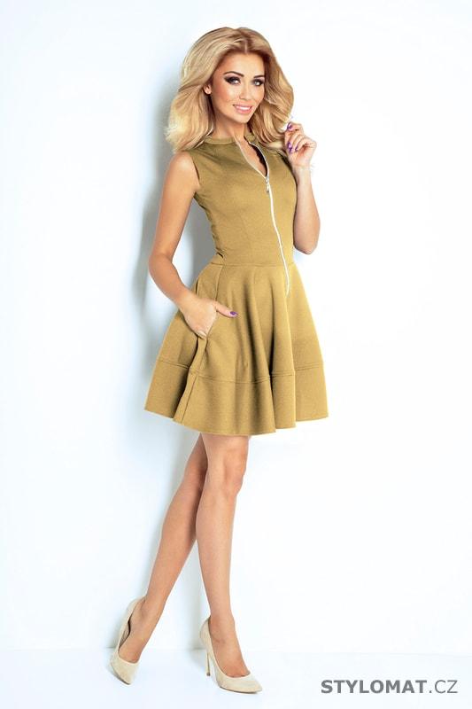 Šaty se zipem vpředu a kapsami béžové - Numoco - Krátké letní šaty c875118ae9