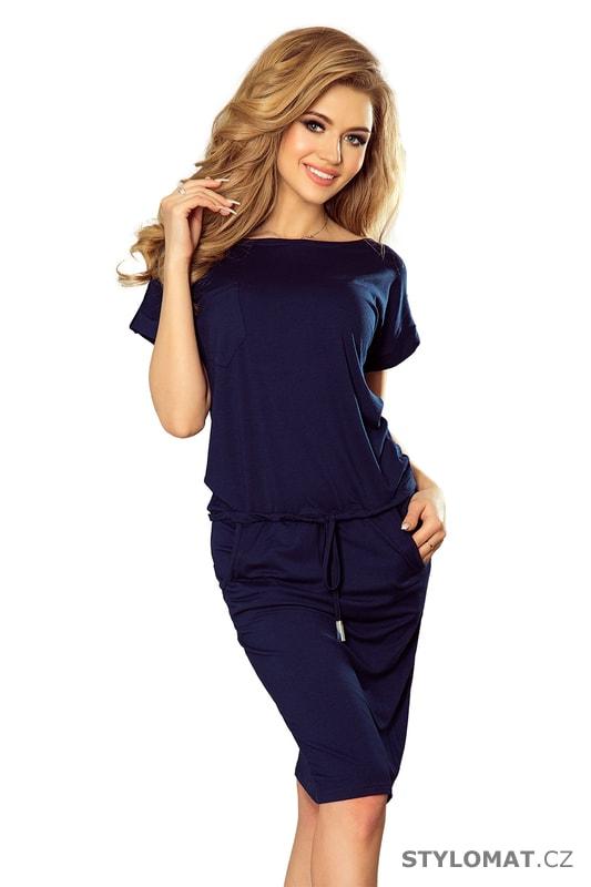 Sportovní šaty s krátkým rukávem a kapsami tmavě modré - Numoco - Jarní šaty 236d4a3a91