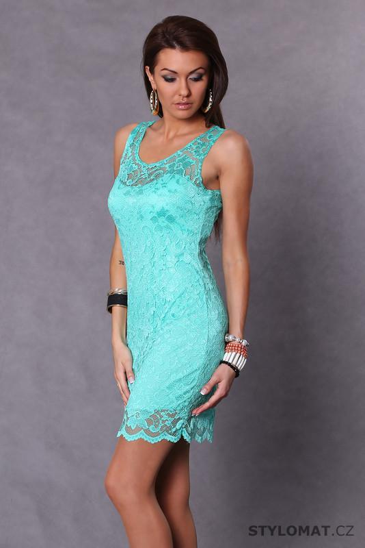 Trendy tyrkysové krajkové letní šaty - Vanilla - Krátké letní šaty 562571a4f76