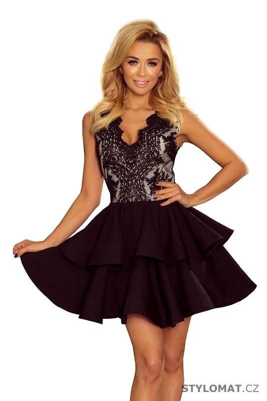 Exkluzivní šaty s krajkovým výstřihem černé - Numoco - Krátké společenské  šaty 9cb353de823