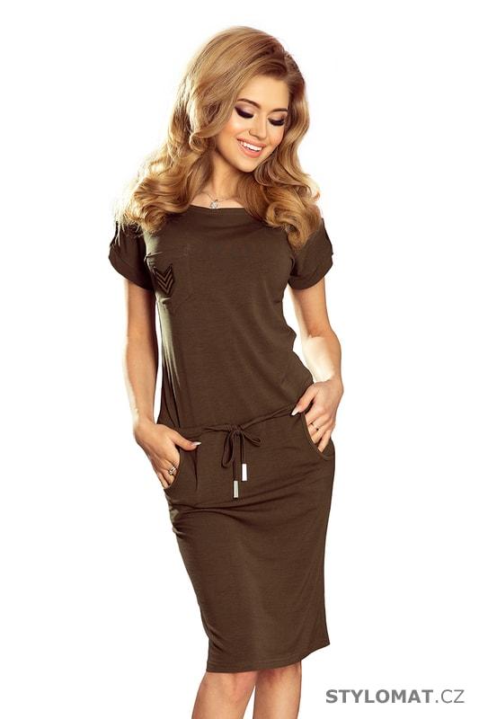 Sportovní šaty s krátkým rukávem a kapsami khaki - Numoco - Jarní šaty 93de72aab6
