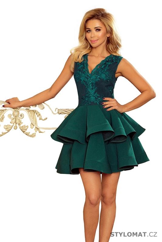 cf7ace7bdd4 Exkluzivní šaty s krajkovým výstřihem zelené - Numoco - Krátké společenské  šaty