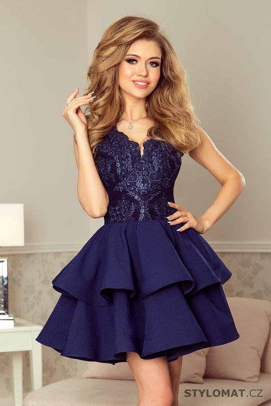 bc3dff6efba Exkluzivní šaty s krajkovým výstřihem námořnicky modré - Numoco - Krátké  společenské šaty