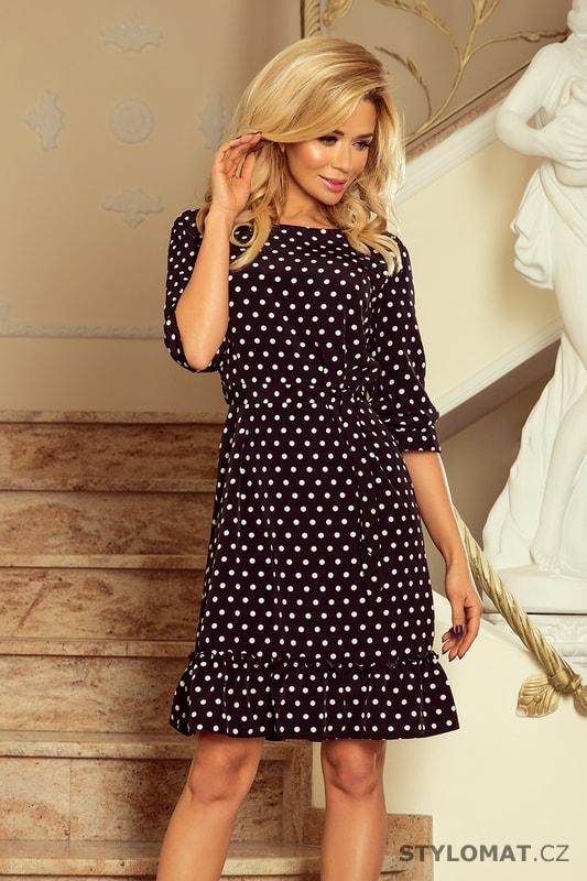 Šaty s volánky a páskem s puntíky černobílé - Numoco - Krátké letní šaty 5670124a76